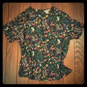 H&M Floral Blouse Short Sleeve Top Size 4 XS